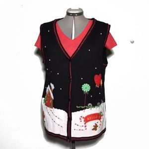 Sweaters - Holiday Christmas Gingerbread Appliqué Vest XL